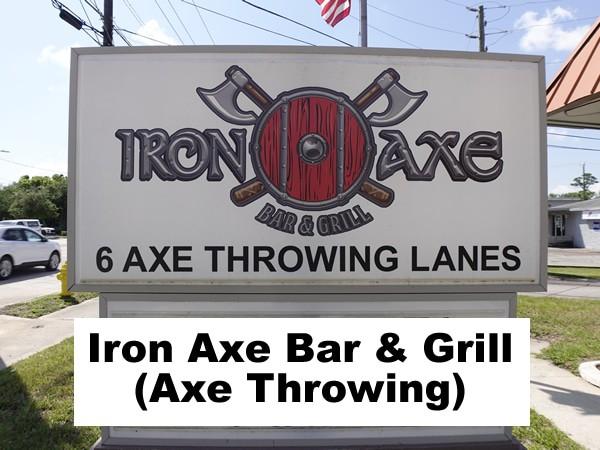 Iron Axe Bar and Grill Restaurant Pub South daytona with Axe Throwing header